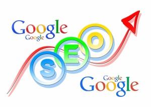 Google Logo und SEO Logo mit Pfeil